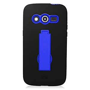 Eagle Cell Hybrid Skin Case with Stand for SAMSUNG Galaxy Avant/G386T - Retail Packaging - Black/Blue