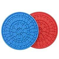 Ximoon 2 套狗舔垫耐用硅胶分心装置带强力吸力狗舔垫适用于狗洗澡、*和训练(红色+蓝色)