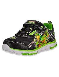 Teenage Mutant Ninja Turtles TMNT 男孩拉斐尔和列奥纳多发光运动鞋 Black/Green 1 7 Toddler