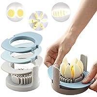 鸡蛋切片机 3合1切蛋器 Wedger 硬煮鸡蛋和水果切片机 多功能方便切片机 带不锈钢切线和防滑底座(蓝色)