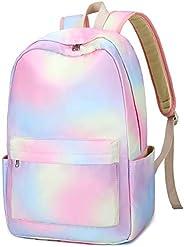 笔记本电脑学校背包女孩书包青少年大学旅行背包 E0092-1 Rainbow