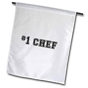 inspirationzstore Typography – # 1 Chef – Number ONE BEST Chef – 黑色文字 – GIFTS for 好专业 Cooks 或风扇 OF 烹调 – 旗帜 12 x 18 inch Garden Flag