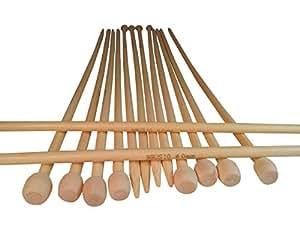 竹编织针;13.75 英寸长;1 套 2 根直针 天然木 US10, UK4, 6.0mm KN101