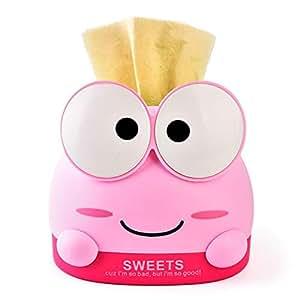Buery 纸巾盒盖,纸面纸巾封面卡通狗纸分配器 适用于儿童卧室、浴室、梳妆台、家庭、汽车装饰、书桌 - 小麦纤维 Pink Frog