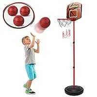 幼儿篮球篮带 3 个球 – 可调节高度 3 - 6 英尺(约 0.8 - 1.6 米),站立篮球套装运动游戏,室内和室外学龄前玩具套装,适合2 3 4 5岁婴儿男孩女孩的运动玩具