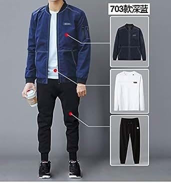 男士外套春秋2018新款冬季韩版潮流休闲运动套装男装夹克加绒衣服1703深蓝+白标裤子+T恤 XL