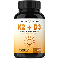 NutraChamps 维生素 K2 MK7 和维生素 D3 膳食补充剂 有益于骨骼和心脏* - 优质维生素 D 和维生素 K 复合物 -5000 国际单位维生素 D3 和 100 微克 MenaQ7 维生素 K2 MK-7 -60 小粒纯素胶囊