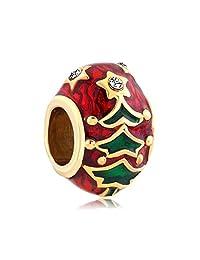 SexyMandala 圣诞树魅力复活节狂欢蛋蛋红色搪瓷珠 Pandora 手镯 red christmas tree