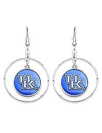 """肯塔基大学野猫银色耳环,虹色蓝色和银色""""UK""""标志吊坠,银色环"""