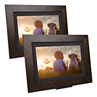 "SimplySmart Home PhotoShare 社交网络框架,将图片从手机发送至相框,Wi-Fi,云,数码相框,可容纳 5,000 多张照片,高清,1080P 8"" (2-Pack) 棕色"