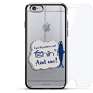 奢华镀铬系列 360 套装:设计师手机壳 + 钢化玻璃 适用于 iPhone 6/6s 银色LUX-I6CRM360-FISH2 99 Problems Fishing Quote 银色