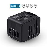国际旅行适配器通用电源适配器全球通用四合一 USB 带电插头,适用于欧洲美国、欧洲、英国、澳洲 160 个国家(黑色)