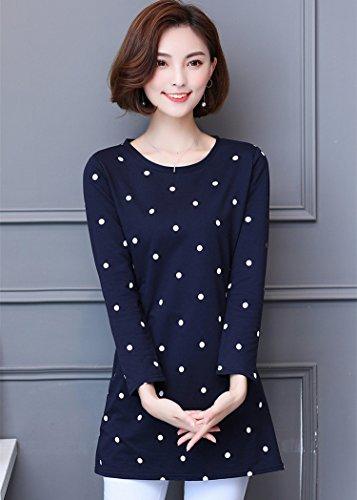 Duya長袖Tシャツ女性の秋の新しい大きいサイズシャツ綿ルーズスリムロング水玉シャツ女性のボトムスシャツSDA 137 AJX M 8266