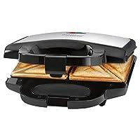 Bomann ST 1372 CB三明治烤面包機,三角三邊三明治板,帶不粘涂層,自動溫度調節器,不銹鋼墊,黑色