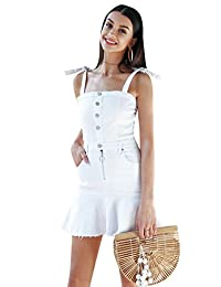 Simplee 女式夏季牛仔布系扣肩带迷你 A 字型美人鱼裙白色
