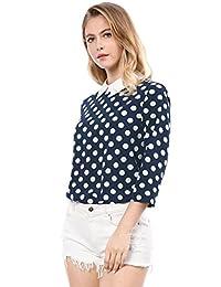Allegra K 女士 3/4 袖拼色领口波点女衬衫