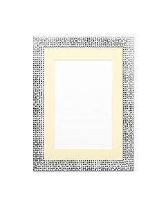 """绘画画框平坦明亮/镜面效果/明星照片/图片/海报框架带定制安装 - 模塑尺寸 28mm 宽,16mm 深 - 提供 9 种时尚颜色和多种尺寸 Silver Bling Frame With Ivory Mount 6""""x4"""" for 4""""x3"""" FBM-SVR-IVY-6-4-1"""