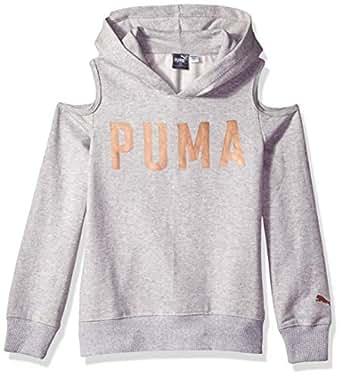Puma 女童露肩连帽衫 Lt Heather 灰色 6x