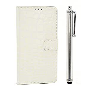 Apexel Apexel Crocodile PU Leather Wallet Case for SAMSUNG GALAXY Note 4(N901) Color White - Carrying Case - Frustration-Free Packaging - White