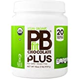 PBfit Vegan Organic Chocolate Plus, Plant Protein Powder, 20g of Plant Protein, 1 Pound