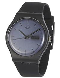 瑞士品牌 Swatch 斯沃琪原创系列玄黑赛夜石英中性表 SUOB702