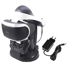 AmazonBasics 亚马逊倍思 - 充电站和支架适用于 PlayStation VR,黑色(适用于 CECH-ZCM1 系列 PS 移动控制器)