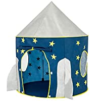 FoxPrint 火箭船帐篷玩具——太空主题角色扮演帐篷游戏,太空游戏之家,儿童太空飞船帐篷,可折叠的弹出式蓝色星星帐篷游戏