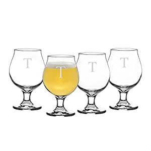 Cathy's Concepts Personalized Belgian Beer Glasses, Monogramed Letter T, Set of 4