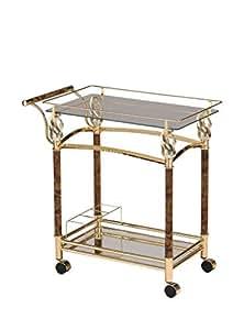 Major-Q 现代风格玻璃顶部金属框架厨房岛葡萄*服务车带脚轮