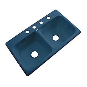 Dekor Sinks 64421 Englewood 铸铁亚克力双碗厨房水槽-4 孔,83.82 厘米,*蓝