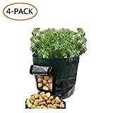 ANSLYQA 土豆种植袋 花园蔬菜布种植器 带手柄和取用翻盖 用于种植土豆胡萝卜花生动植物的花生动植物,4 只装, 7-Gallon 绿色