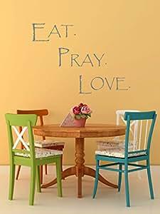 吃。 祈祷。 爱。 乙烯基贴花墙壁艺术贴纸 - 81.28cm 宽 X 58.42cm 高