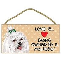 Love is being a Maltese(*上有蝴蝶结)12.7 厘米 x 25.4 厘米 MDF 木质标志 (SJT60546)
