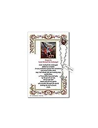 Needzo 圣迈克尔·一年念珠翻领纪念品祈祷卡,12.7 cm