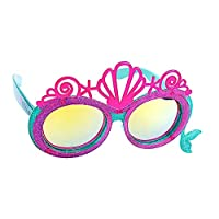 Disney Princess 小美人鱼 Ariel Lil' 人物贝壳皇冠太阳镜,即刻服装人物派对喜爱遮阳帽 UV 粉色,蓝色
