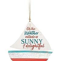 Weather Outside is Sunny Classic 白色 10.16 x 7.62 cm 木质悬挂雕像装饰品