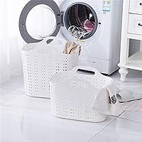 手提镂空脏衣篮塑料收纳篮仿藤编储物篮卫生间透气脏衣篓洗衣篮子 (白色(大中2个装))