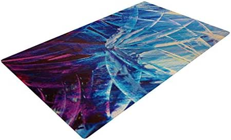 Kess InHouse Ebi Emporium 夜花蓝色白色编织浴垫,60.96 x 91.44 cm