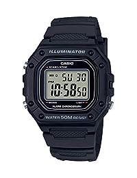 Casio 卡西欧男式'经典'石英不锈钢和树脂手表,颜色:黑色(型号:W-218H-1AVCF)