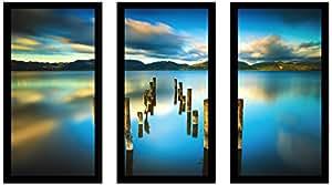 "Picture Perfect International 704-2276-1632 ""Versilia Massaciuccoli, Tuscany, Italy"" Framed Plexiglass Wall Art, Set of 3, 17.5"" W x 33.5"" H x 1"" D"