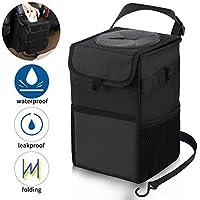 Kartisen 防水汽车垃圾桶,带盖垃圾袋和3个储物袋 - * 防漏乙烯基内衬 黑色 AT-GC-021