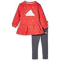 adidas Kids 阿迪达斯 婴儿 婴童针织套服 CV5361 上装:天然珊瑚粉 下装:深麻灰 IG F CREW SET1