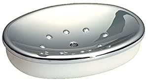 InterDesign Diva 独立式马桶纸架 - 备用卷存储,用于浴室,青灰色/铬 镀铬色 10300