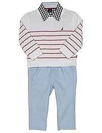 Nautica Baby Boys 3 Piece Woven Sweater Set