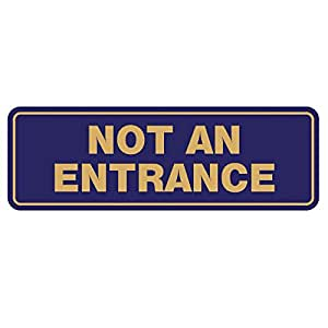 "标准 NOT an Entrance 门/墙壁标志 3"" x 9"" - Large Blue/Gold"