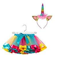 SunTrade 女孩儿童多层彩虹芭蕾舞短裙带独角兽角头带套装 生日聚会装扮礼品