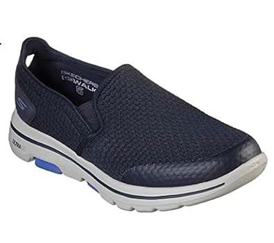 Skechers Men's GO Walk 5-APPRIZE Slip On Trainers, Blue (Navy Textile/Synthetic/White Trim NVY), 8 (42.5 EU)