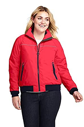 Lands' End 女式加大码方形夹克,1X,指南针红色
