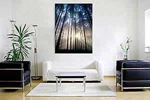 Sea Wall Art 客厅红色日出画 帆布印刷墙壁艺术海洋海滩图片画 可直接悬挂卧室家居装饰金刚鹦鹉 Sunny Forest 24x32in (60x80cm) Kxtreesunshine
