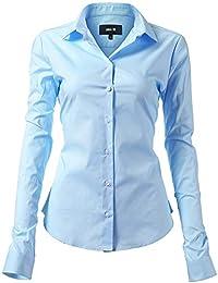 Harrms 女式基本款长袖修身休闲纽扣衬衫弹性正装衬衫
